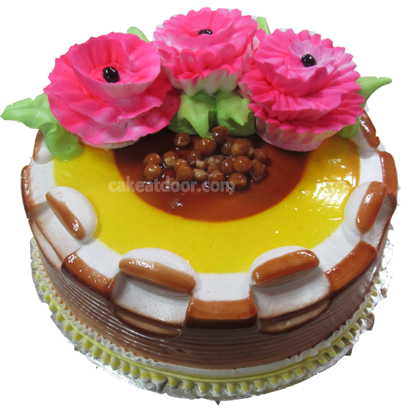 Butterscotch 3 Flowers Cake - C044
