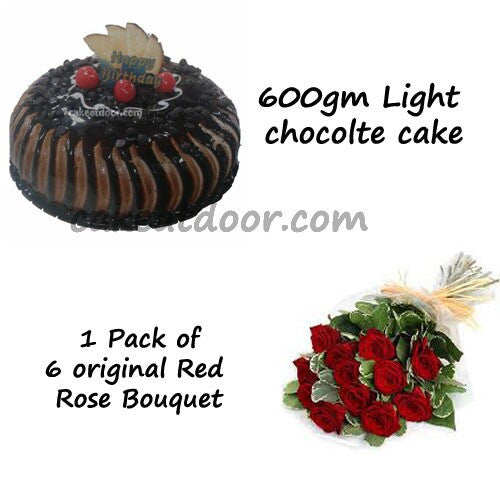Light chocolate cake and 6 flowers Bunche - Combo13