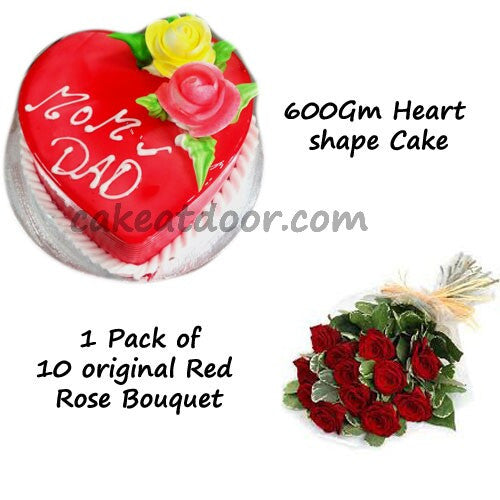 Love Theme Combo of Heart shape cake and Bouquet - Combo 15