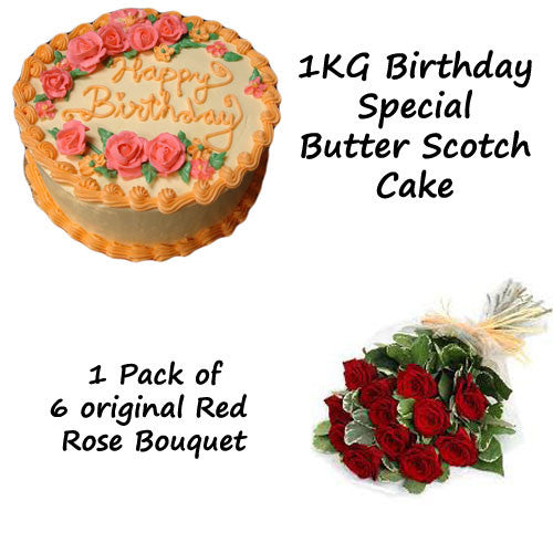 Birthday Special Butter Scotch Cake and 10 Original Rose - Combo16
