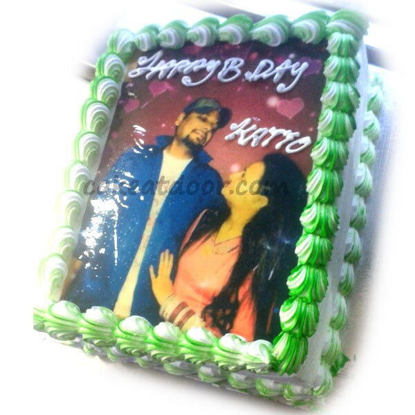 Couple Photo Square cake - C085