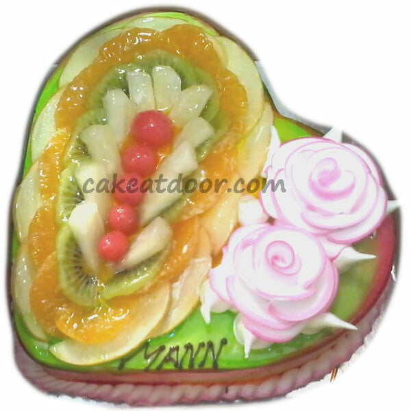 Heart Shape Fresh Fruit Cake - C102