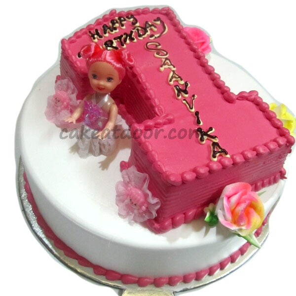 First Birthday Baby Girl Double Cake 5KG C072 Cakeatdoorcom