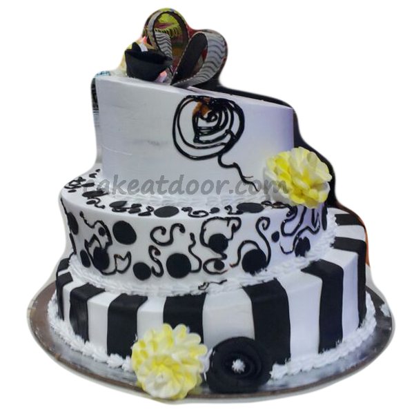 Wedding Cake Triple Tire with Black and White shade 5KG - C064