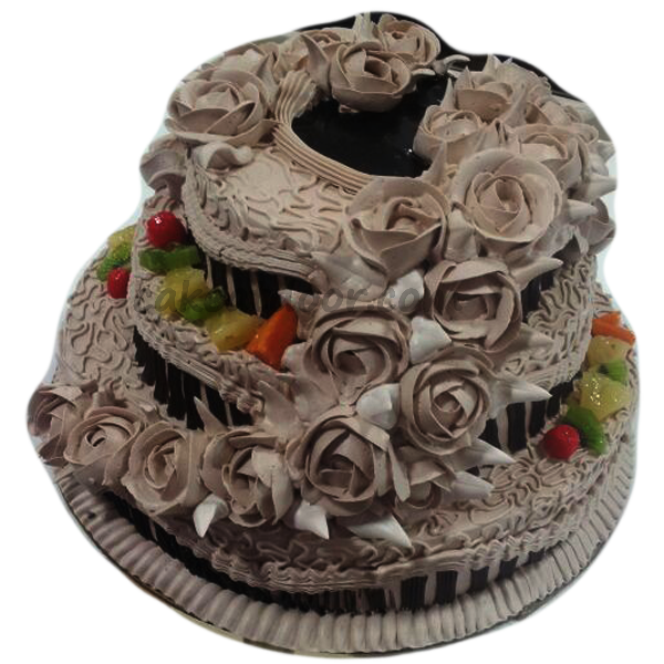 Round Shape Light Chocolate wedding cake with Cream Flowers 5KG - C066