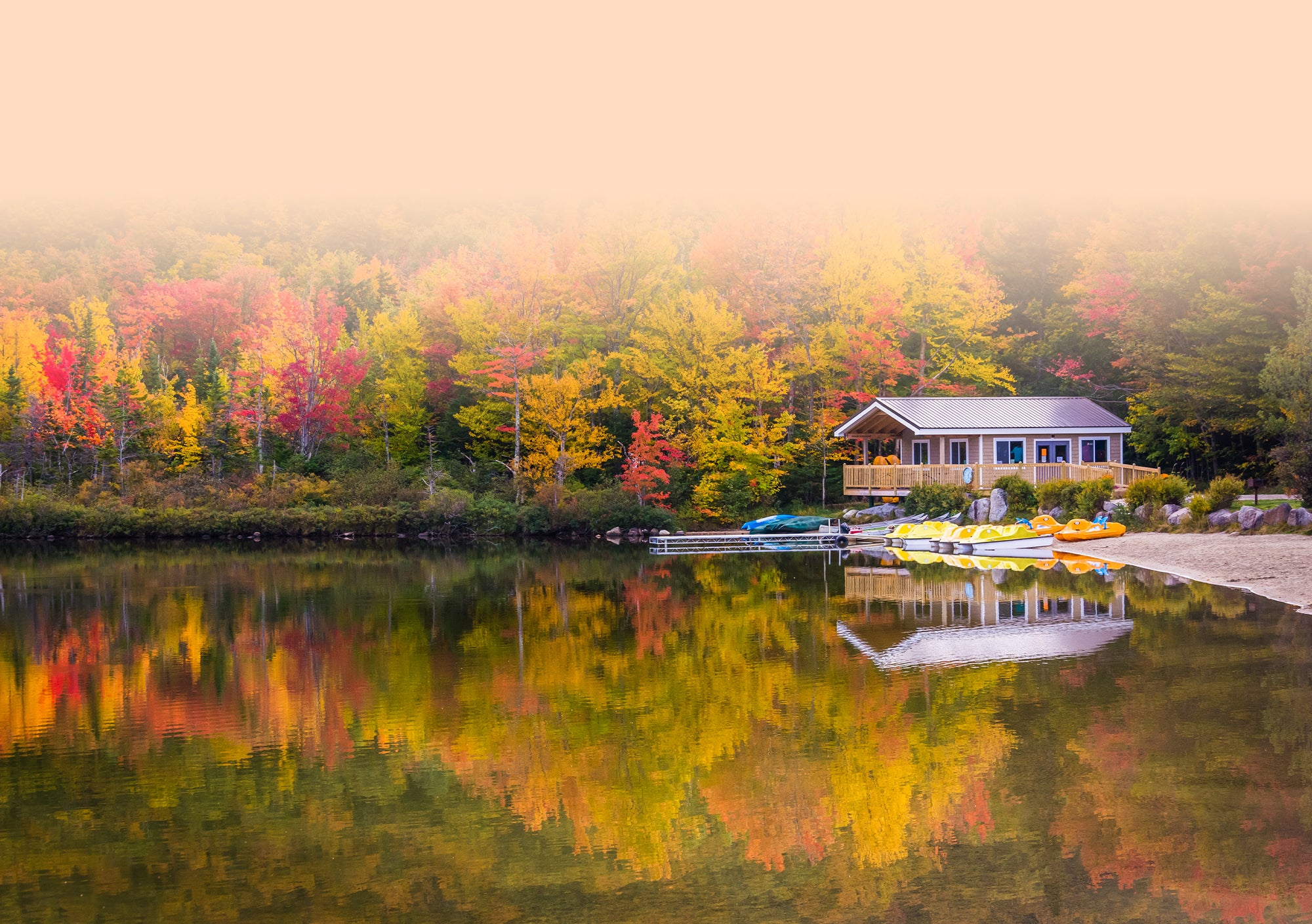 Lake house during the fall