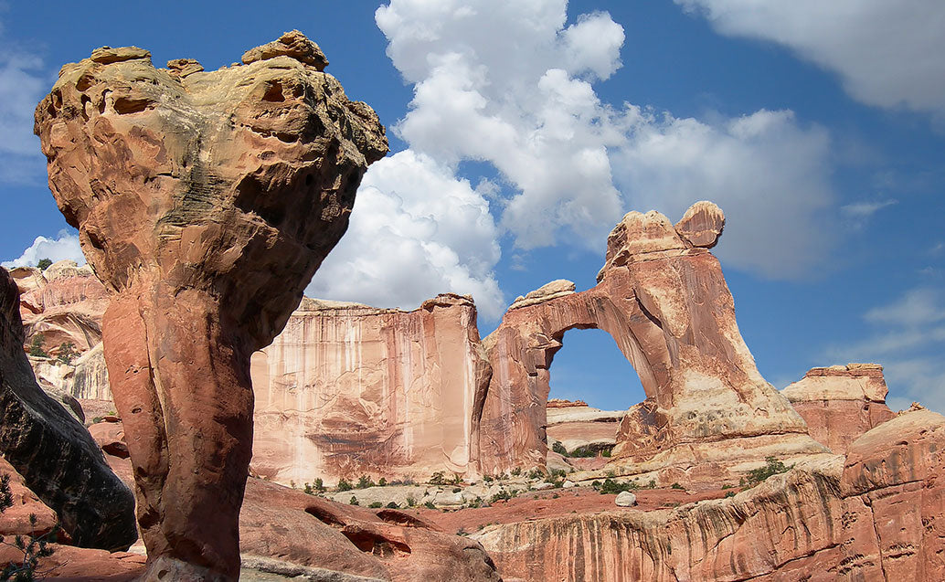 arch with top heavy rock formation