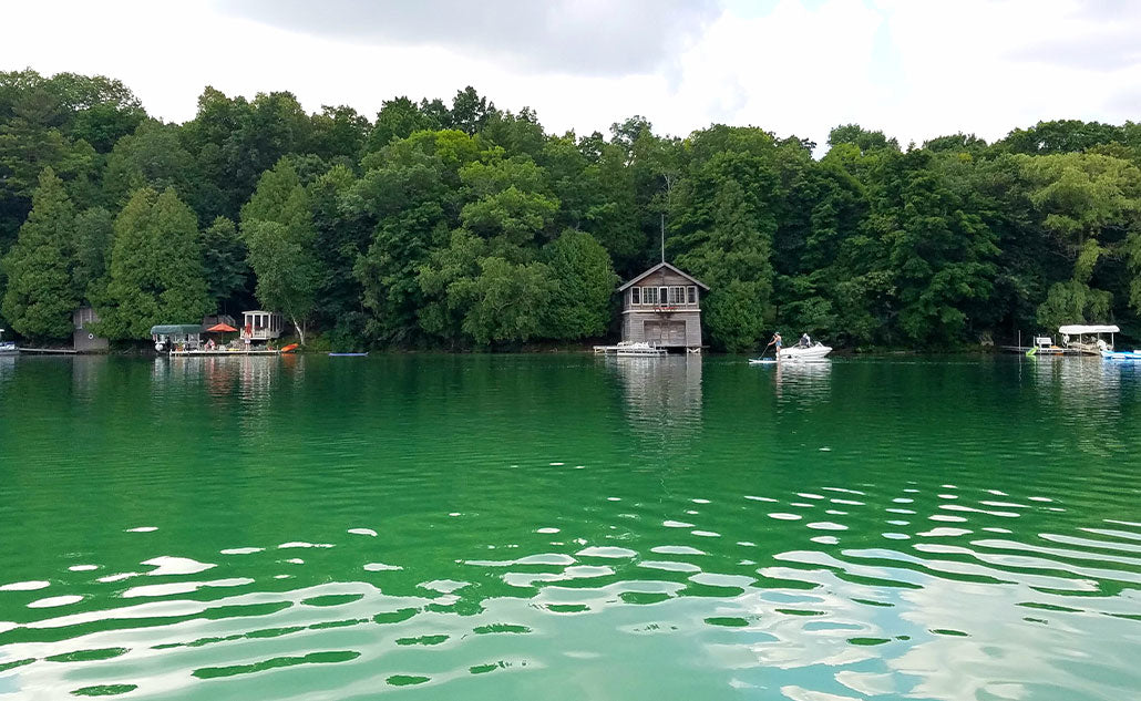 green lake with boats