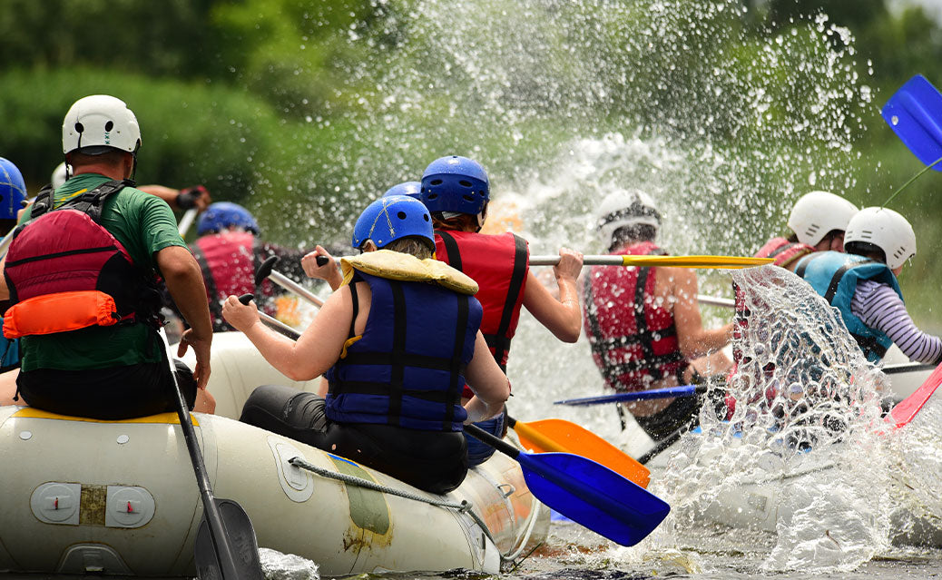 Group river rafting::Group horse back riding