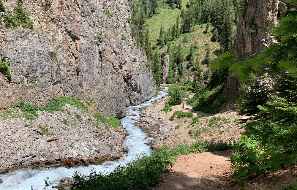 river down stream from side of cliff