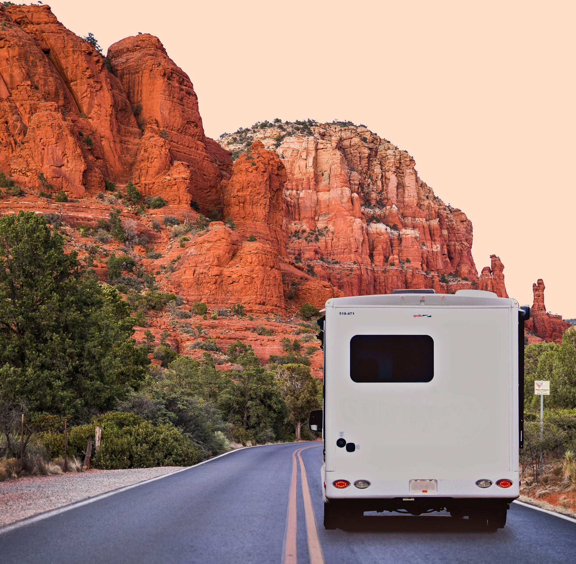 RV driving to canyon