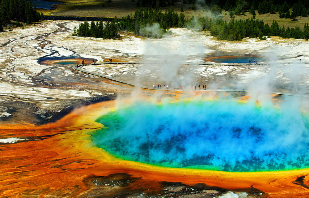 steaming geyser with hot color shades