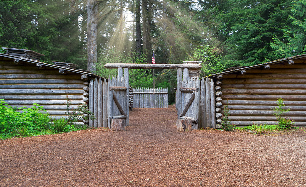 wooden log courtyard entrance for cabins