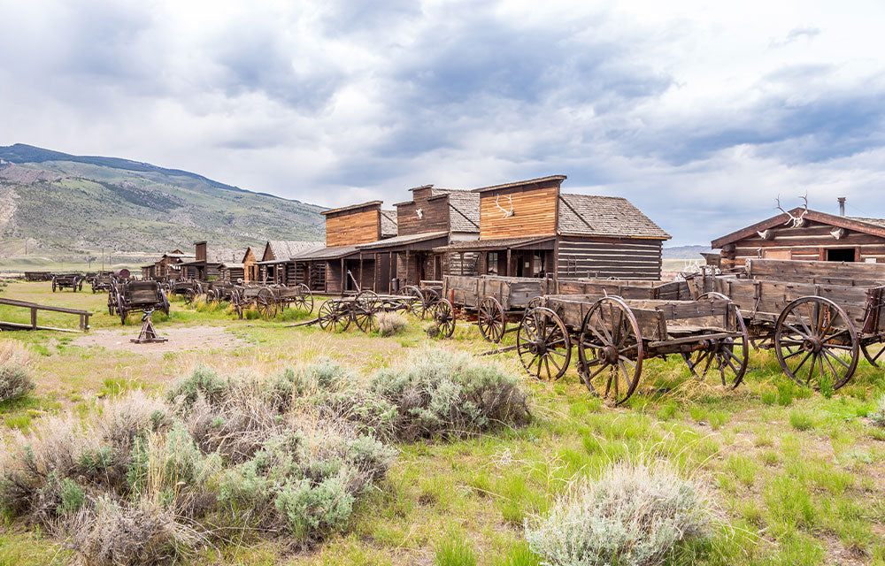 wooden stables with horse wagons