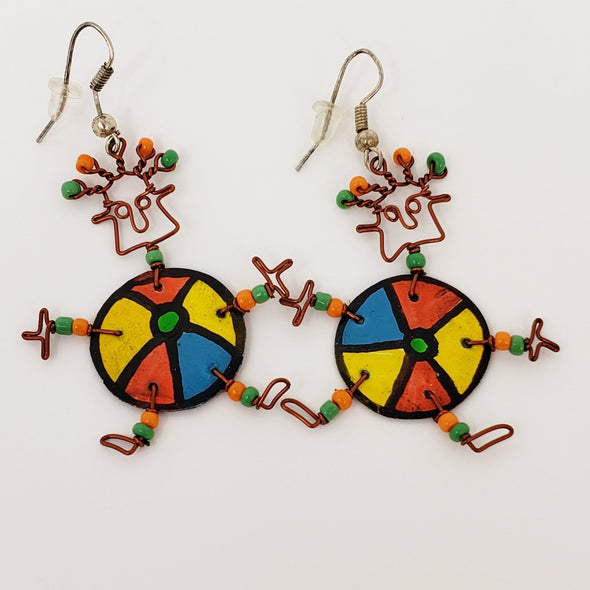 Dancing Girl Beach Ball Earrings