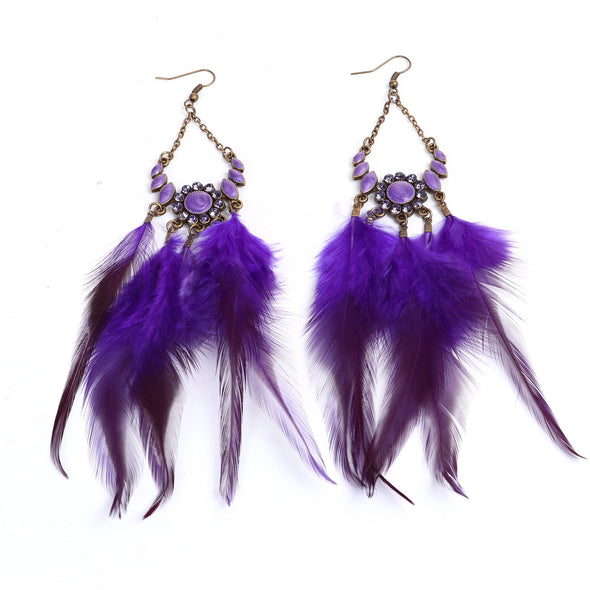 Purple Feathered Earrings with Rhinestones