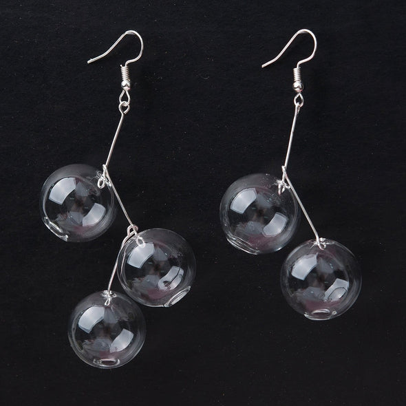 Handmade Transparent Glass Bubble Earrings