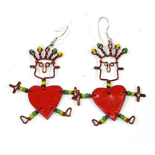 Dancing Girl Heart Earrings