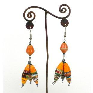 Handmade Three Bead Paper Earrings
