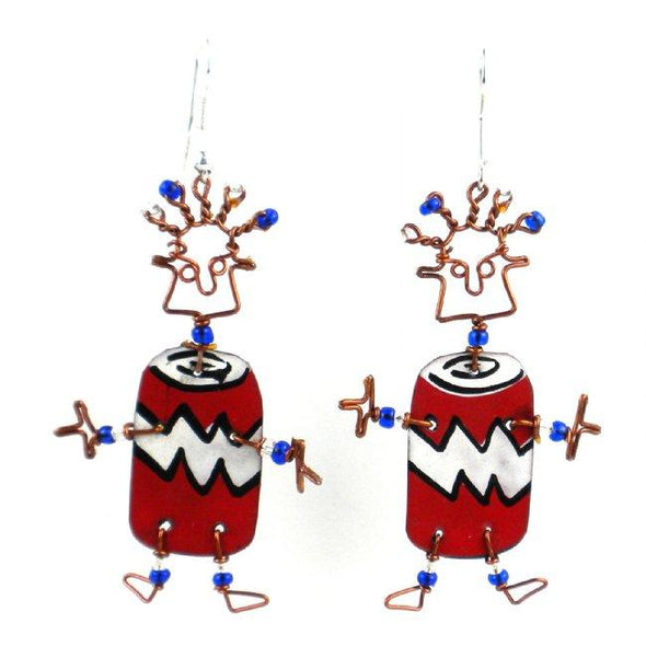 Dancing Girl Soda Can Earrings