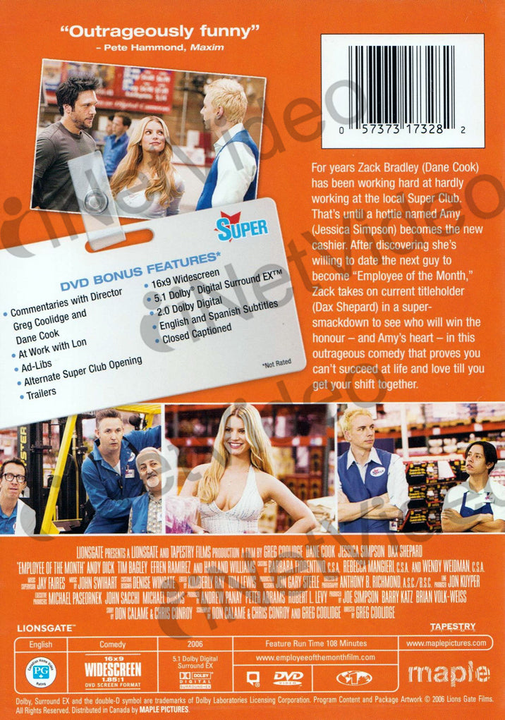 Employee Of The Month Dane Cook Widescreen Maple On Dvd Movie