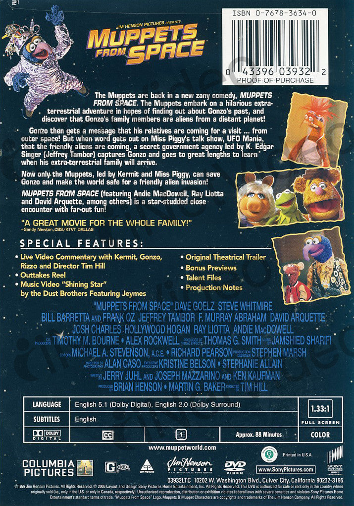 Muppets from Space on DVD Movie