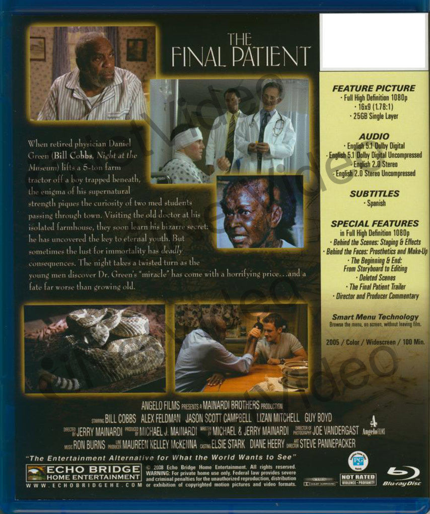 The Final Patient Blu Ray On Blu Ray Movie