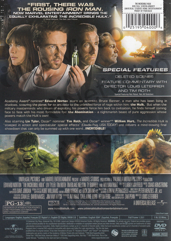 The Incredible Hulk Full Screen Edition On Dvd Movie