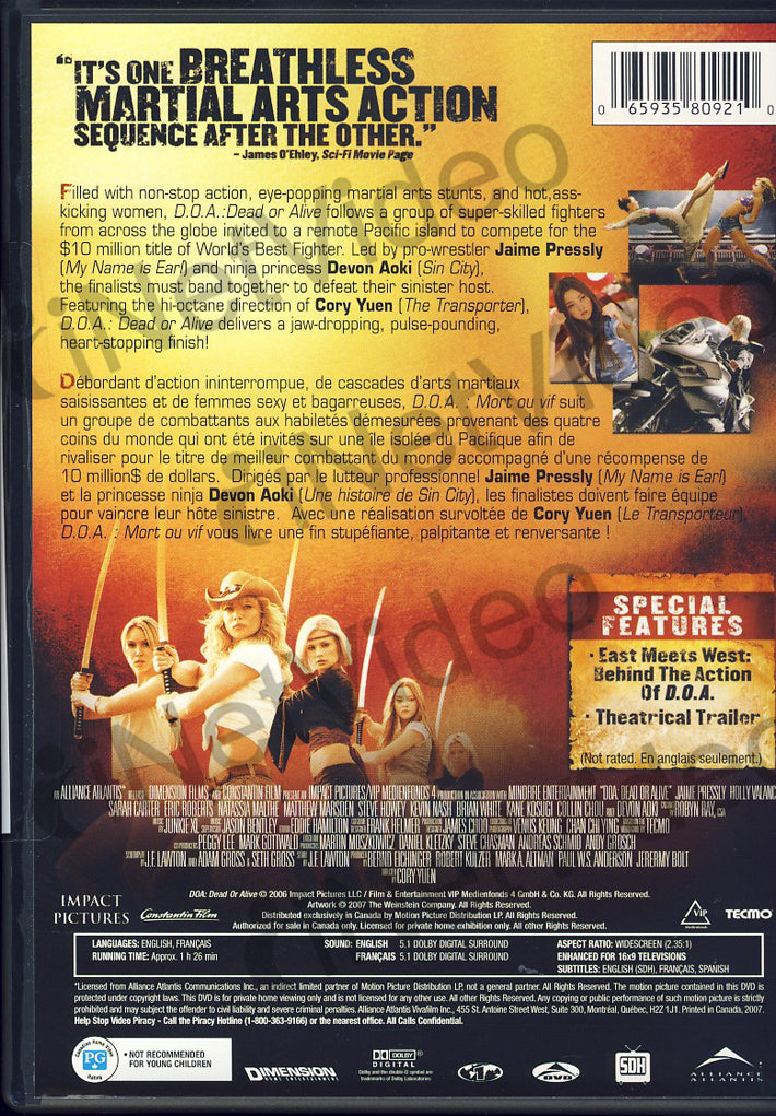 D O A Dead Or Alive Bilingual On Dvd Movie