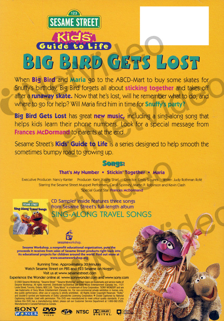 Big Bird Gets Lost With Free Cd Sampler Sing Along