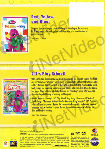 Barney (Red, Yellow, And Blue!/Let's Play School!) (Double Feature) DVD Movie