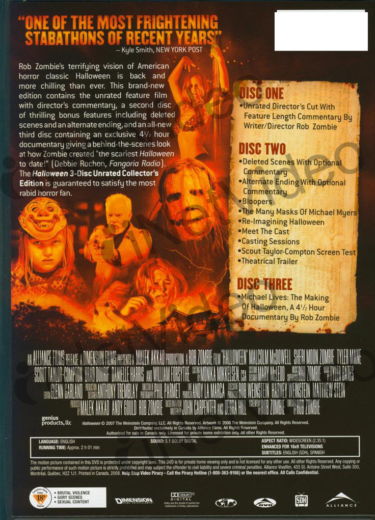 Halloween Dvd Box Set.Halloween Three Disc Unrated Collector S Edition Boxset On Dvd Movie