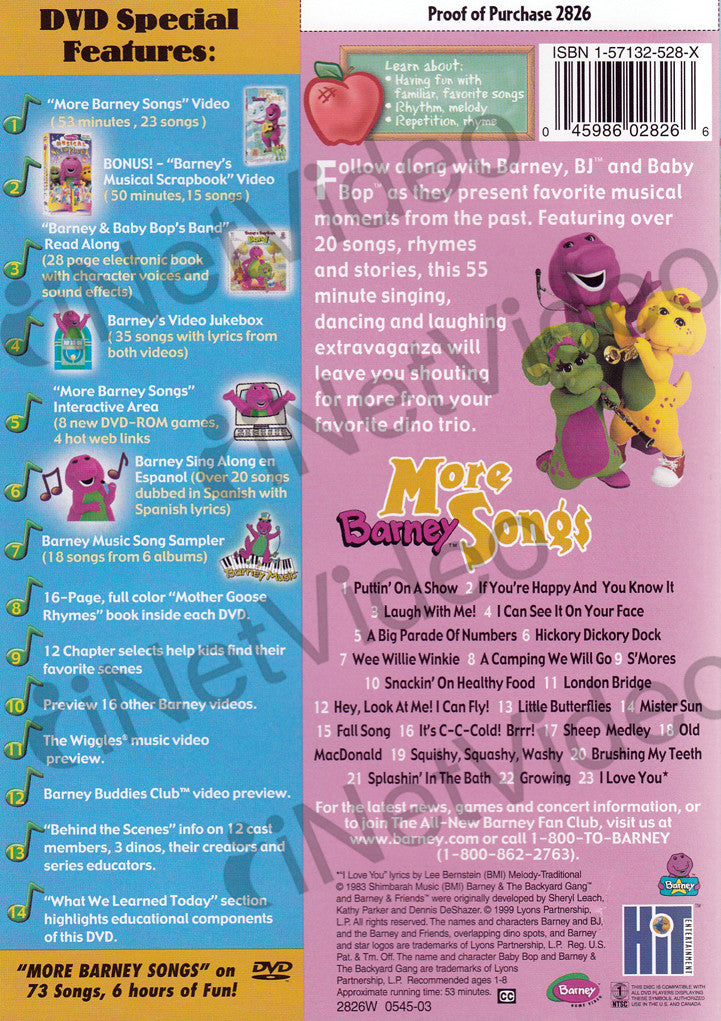 Barney - More Barney Songs on DVD Movie