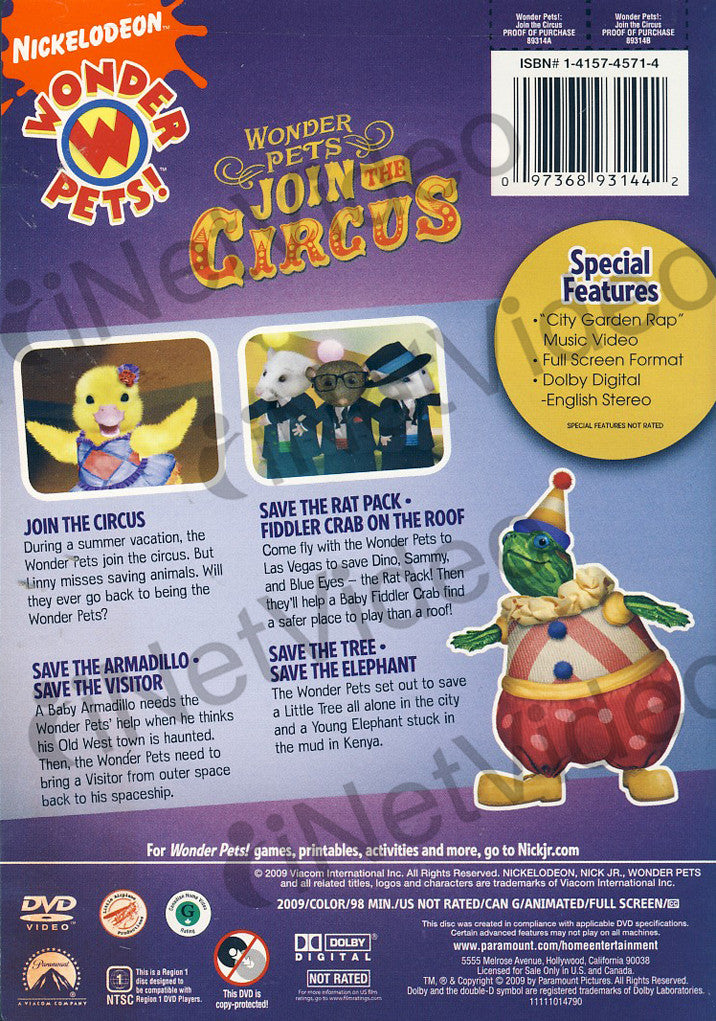 wonder pets join the circus dvd