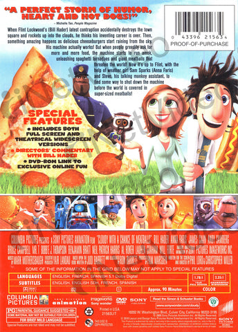Cloudy with a Chance of Meatballs (Bilingual) DVD Movie