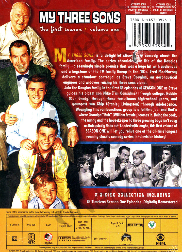 My Three Sons - The First Season - Vol  1 (Keepcase) on DVD Movie