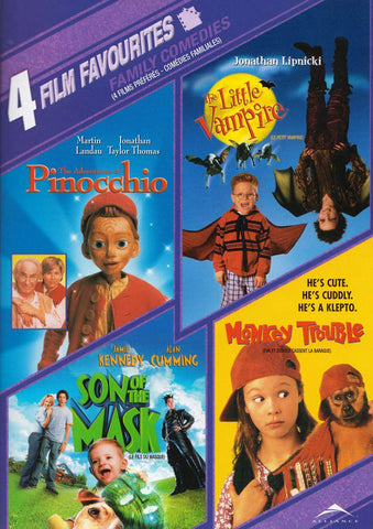Adventures Of Pinocchio/Little Vampire/Son of the Mask/Monkey Trouble - 4 Film Favorites(Bilingual) DVD Movie