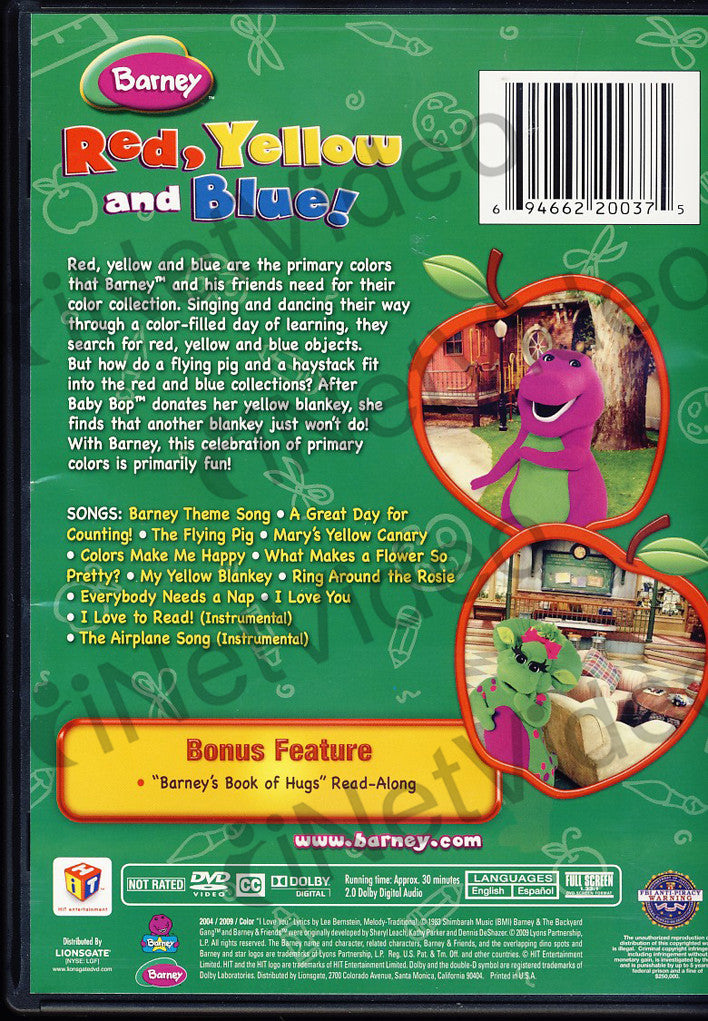 Barney - Red, Yellow and Blue on DVD Movie