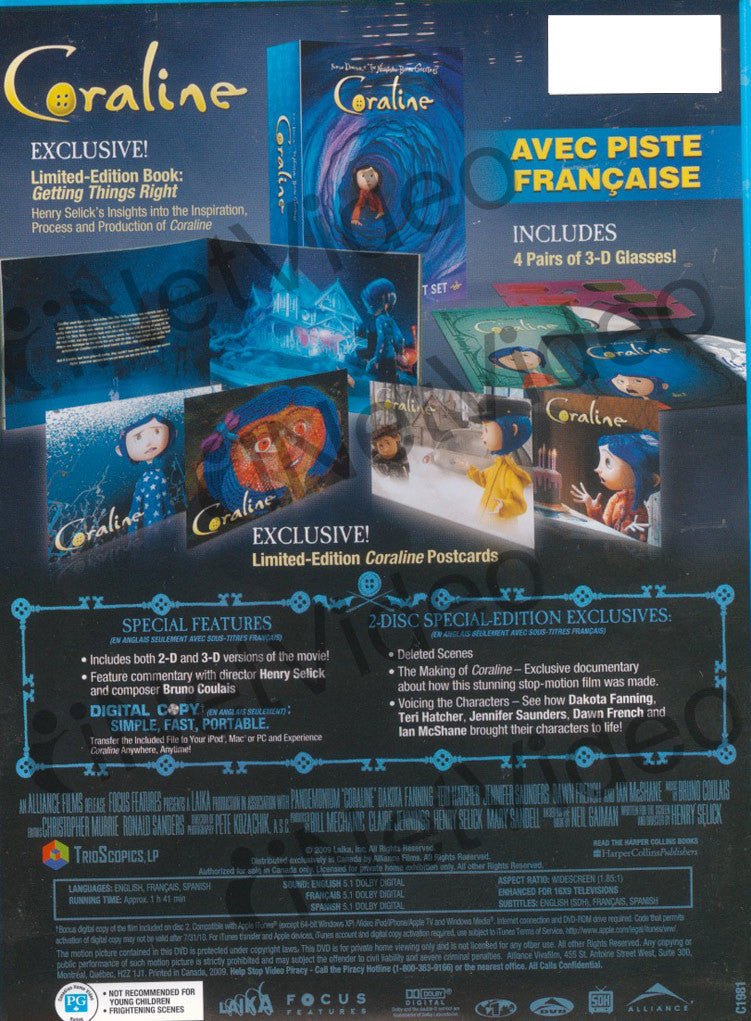 Coraline Widescreen Limited Edition Gift Set Boxset Billingual On Dvd Movie