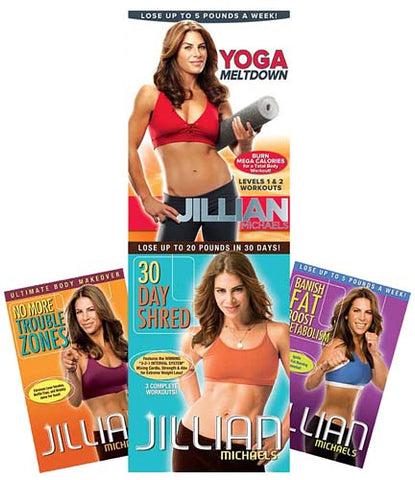 Jillian Michaels 30Day Shred/Banish Fat Boost Metabolism/No More Trouble Zones/Yoga Meltdown (4 Pack DVD Movie