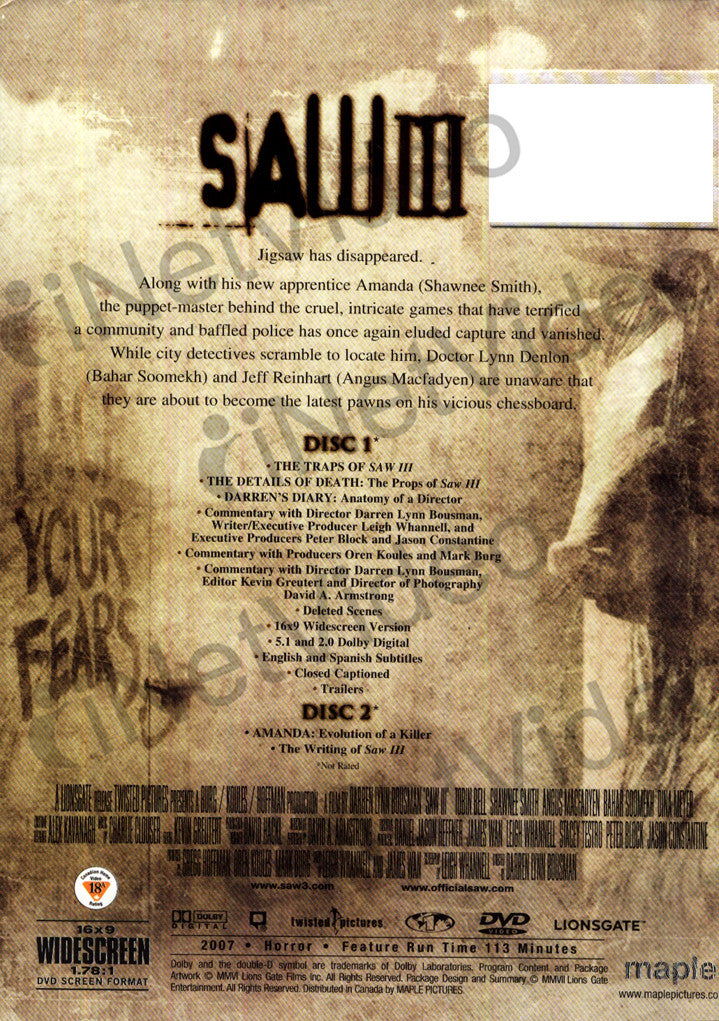 Saw III - 2 Disc Exclusive Edition on DVD Movie