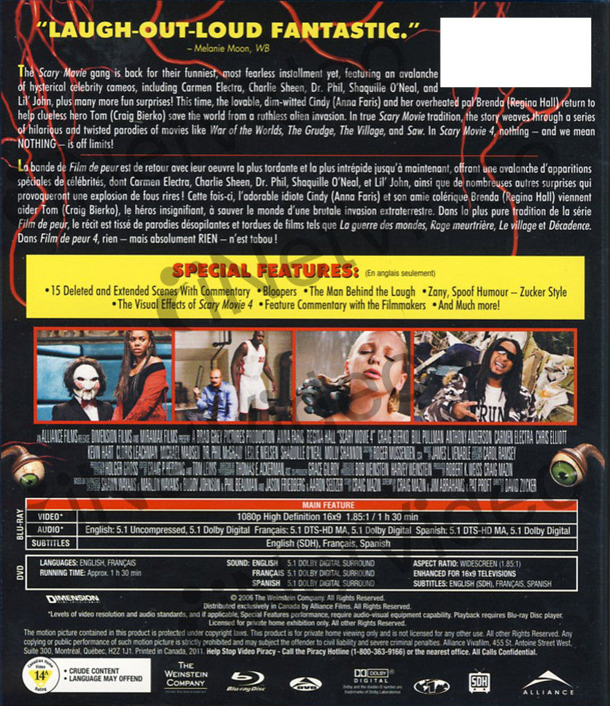 Scary Movie 4 Unrated And Uncensored Blu Ray Dvd Combo Bilingual Blu Ray On Blu Ray Movie