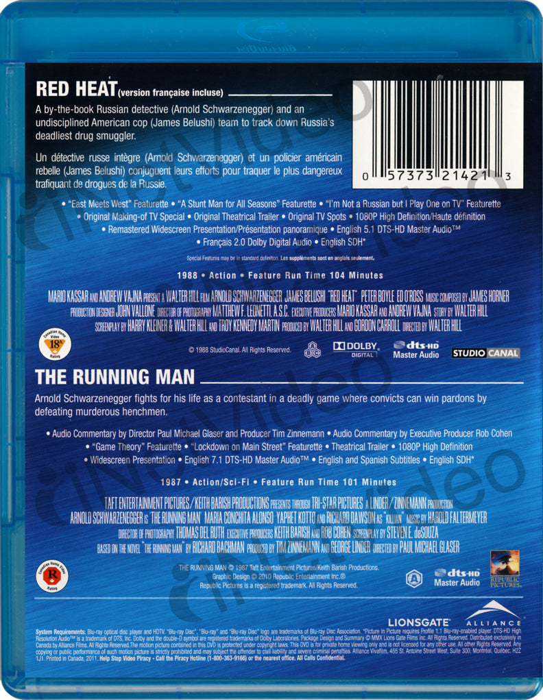 Red Heat / The Running Man (Bilingual) (Blu-ray) on BLU-RAY Movie