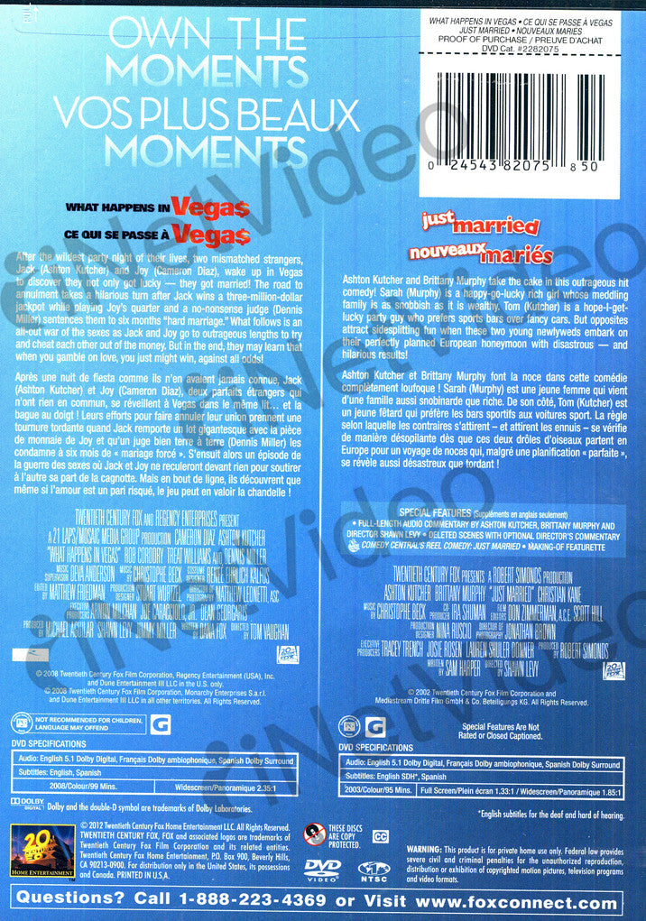 What Happens In Vegas / Just Married (Bilingual) On DVD Movie