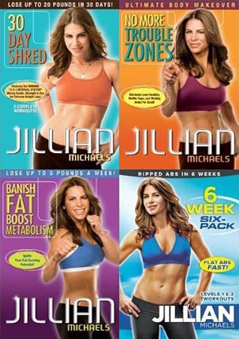 Jillian Michaels(30Day Shred/6 Week SixPack/Banish Fat Boost Metabolism/No More Trouble Zone(4 Pack) DVD Movie