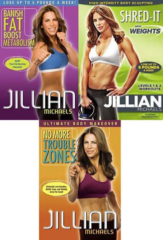 Jillian Michaels-(Banish Fat, Boost Metabolism/No More Trouble Zones /Shred-It..)(3 Pack)(Boxset) DVD Movie