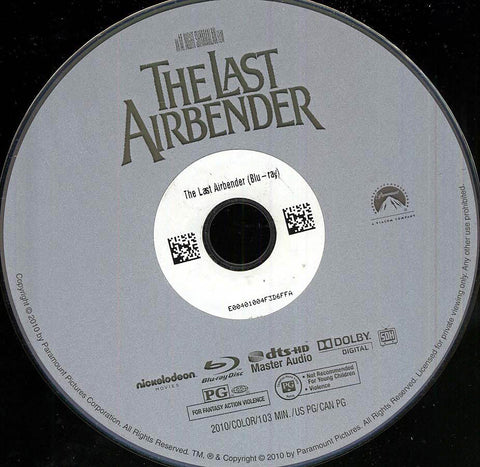 The Last Airbender (Blu-ray) (Disc Only) (USED) BLU-RAY Movie