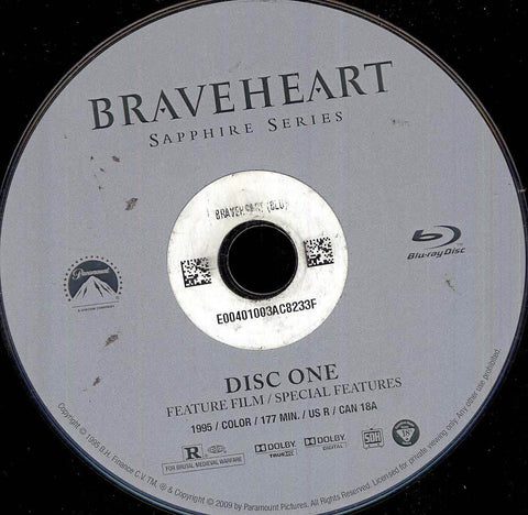 Braveheart (Blu-ray) (Single Disc) (Disc Only) BLU-RAY Movie