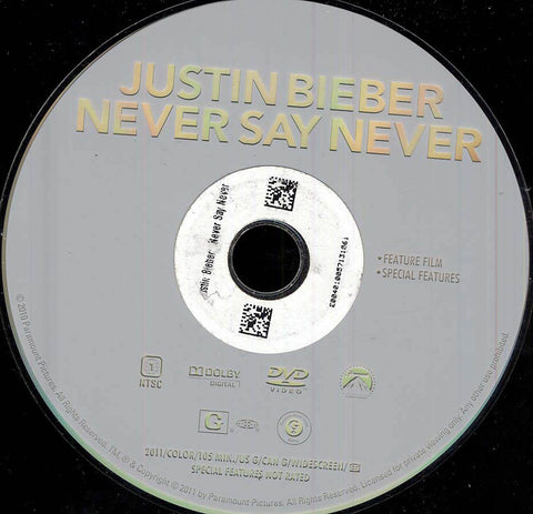 Justin Bieber: Never Say Never (Disc Only) DVD Movie