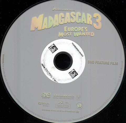 Madagascar 3: Europe's Most Wanted (Disc Only) DVD Movie